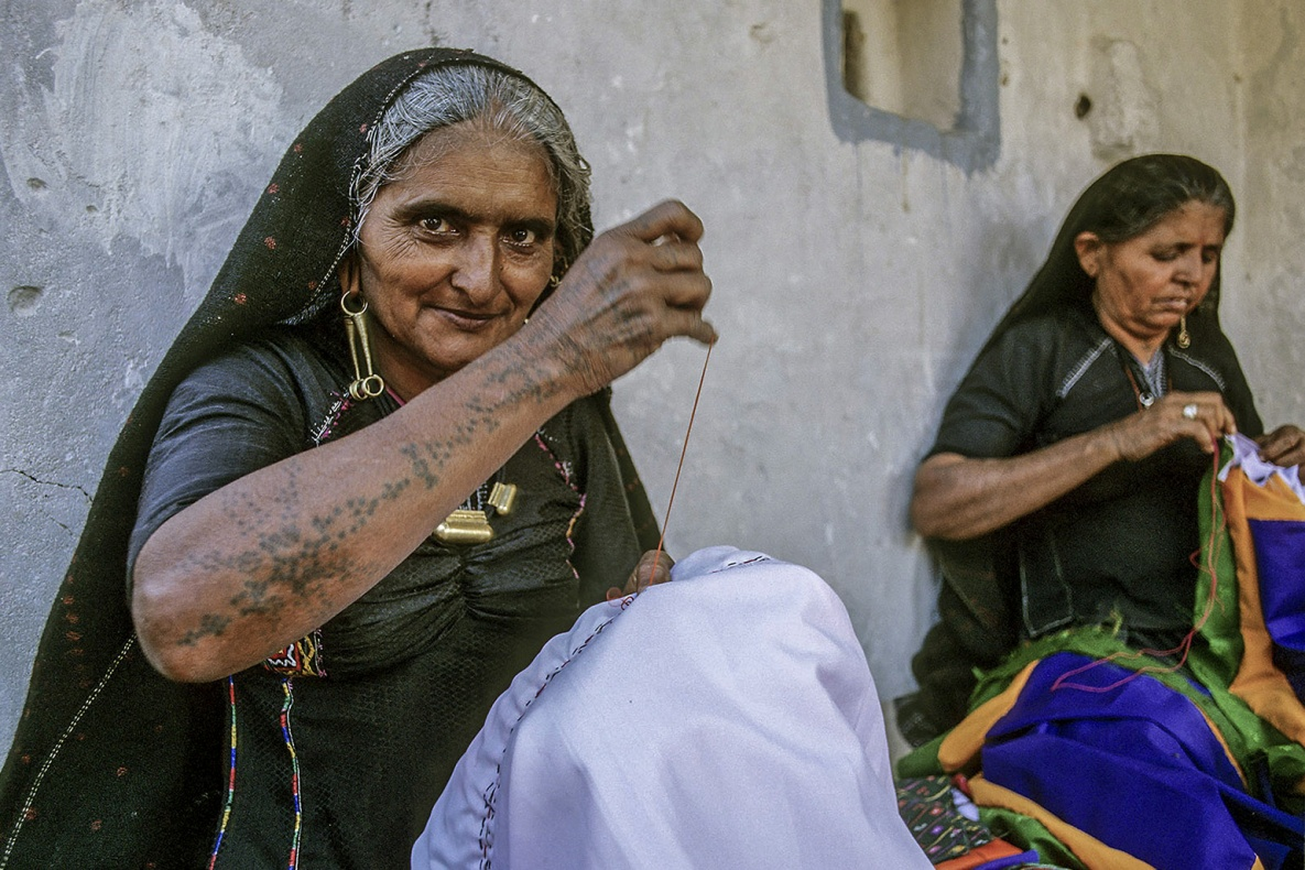 Rabari tattoo. Rann of Kutch, Gujarat , India analogic film Fujichrome VELVIA 50