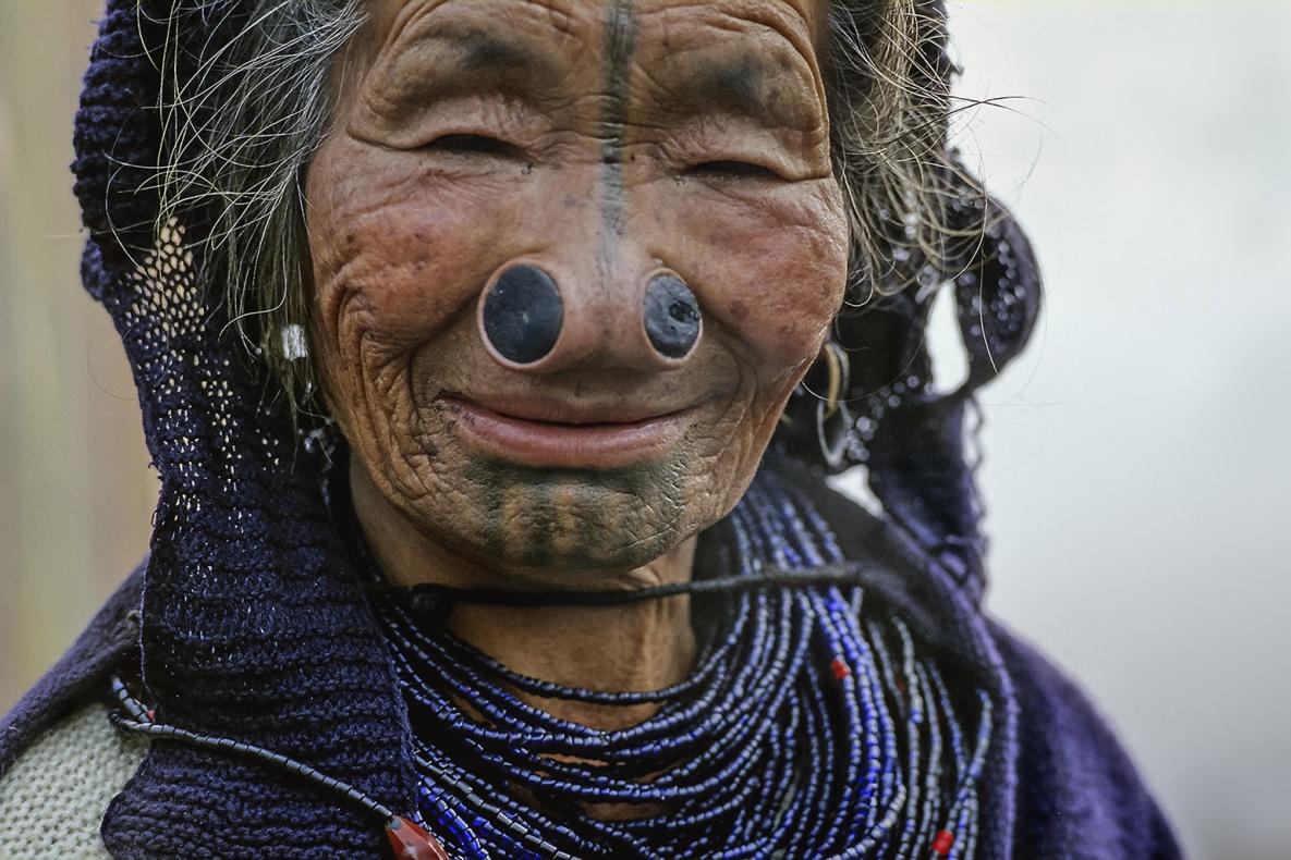 Nasal plates and tattoos, Apa Tani tribe. Arunachall Pradesh, India analogic film Fujichrome VELVIA 50
