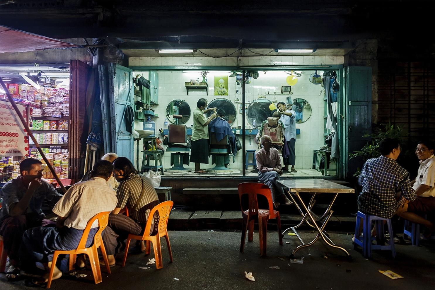 Barber shop Yangon, Myanmar 2015 digital photography