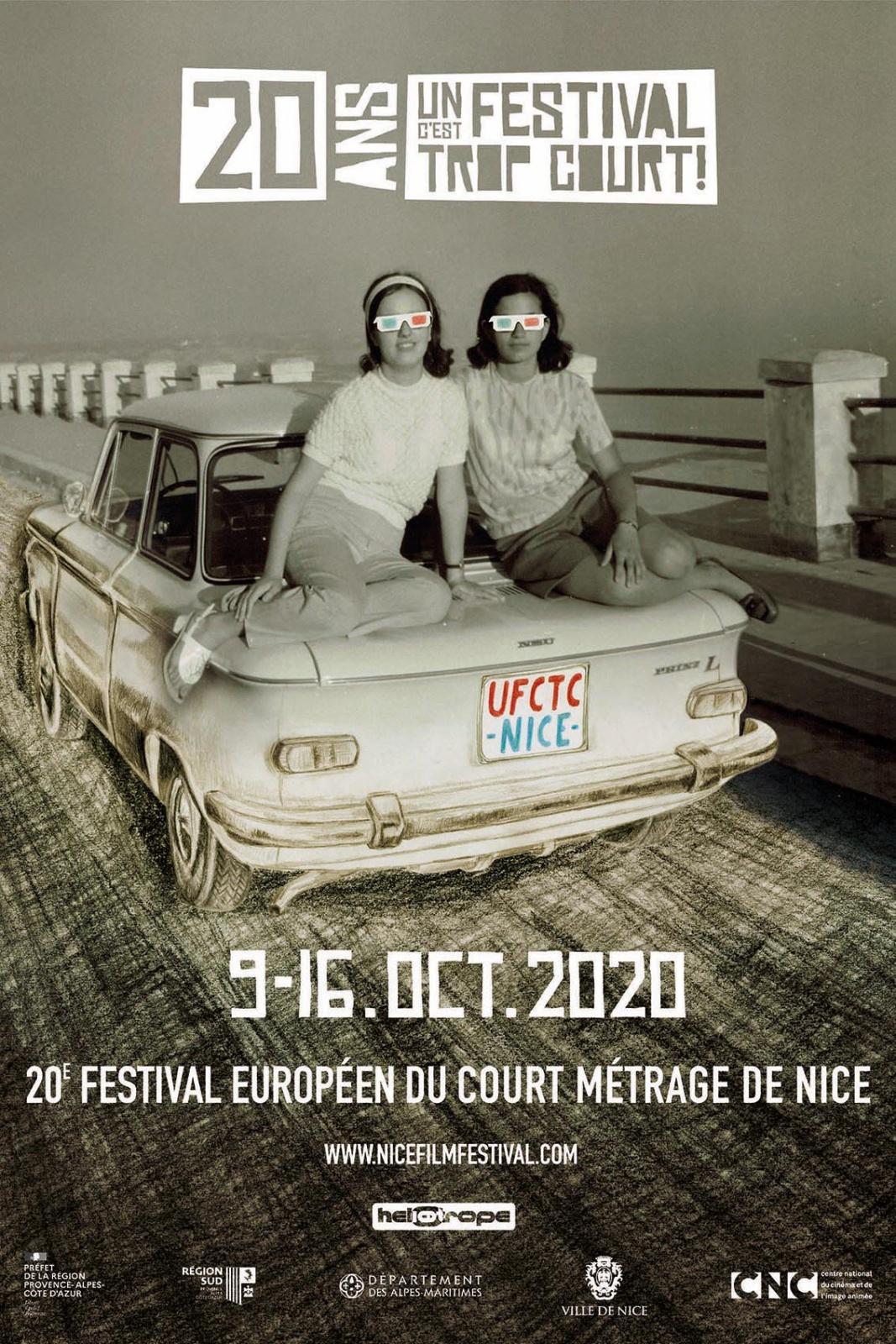 Un festival c'est trop court. Nice Film Festival, 2020  20ÈME ÉDITION : LE VISUEL D'UN FESTIVAL C'EST TROP COURT! 2020  www.nicefilmfestival.com